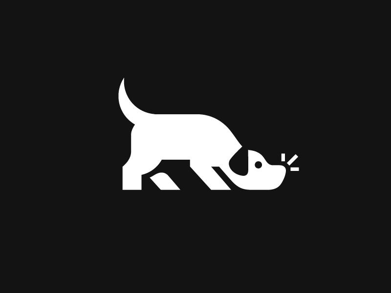 Dog Sniffing search nose sense sensing negative space animal pet mark symbol analyze detection detective mystery sniff sniffing dog doggie illustrative illustration brand branding logo identity
