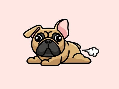 Pardon my Frenchie! naughty puppy adorable character mascot illustrative illustration cute fun funny pet cartoon apparel shirt cloth clothing hoodie tshirt fart farting dog animal french bulldog