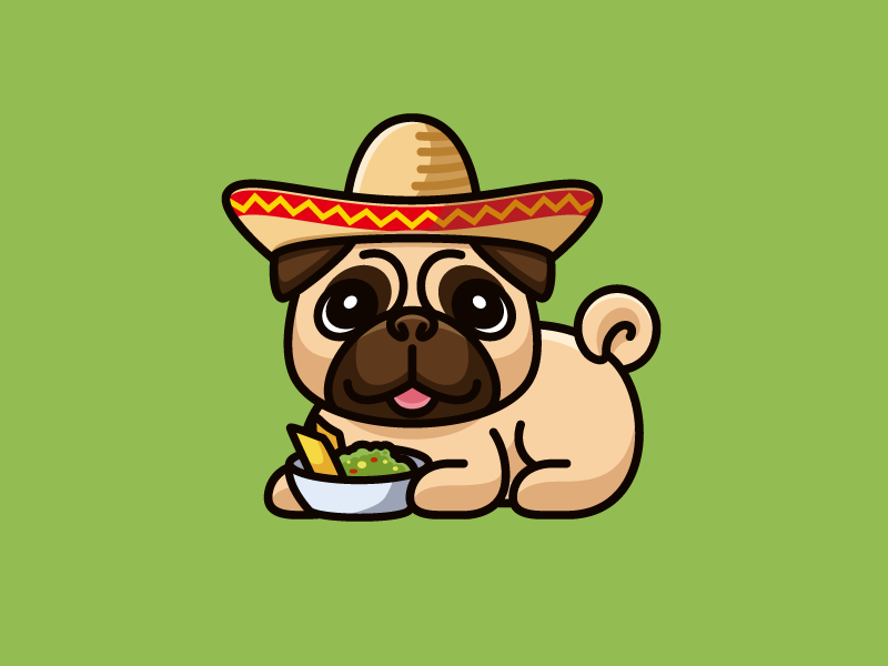 Holy Pugamole! pet cartoon cute fun funny cloth clothing illustration illustrative avocado fruit corn chip mexican hat bowl guacamole pug breed hoodie retail dog animal apparel shirt