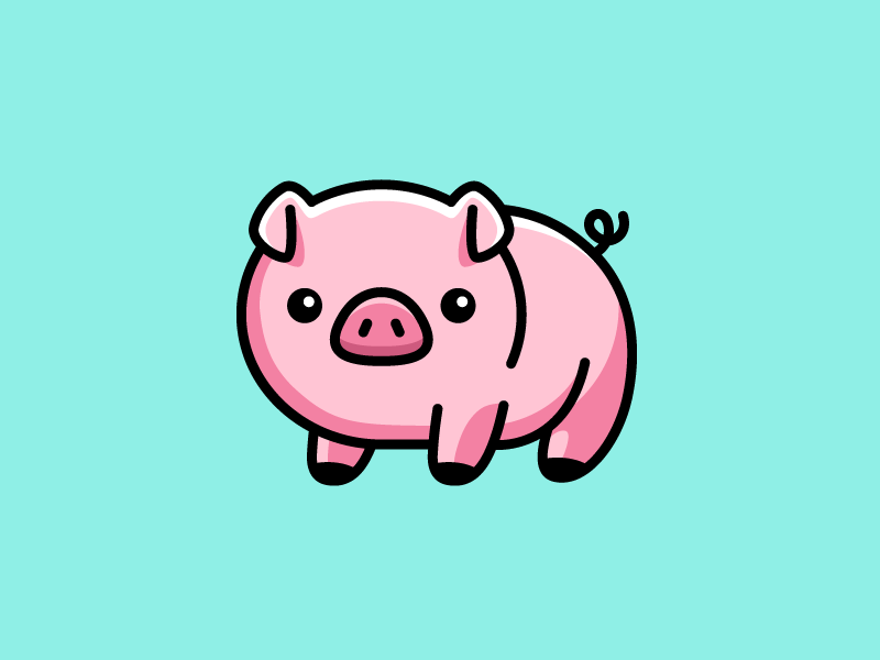 Oink! fat pork kids adorable sticker t-shirt cartoon children piglet animal baby pig cute fun funny character mascot geometry geometric brand branding logo identity illustrative illustration