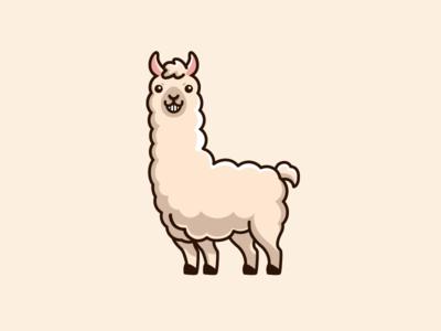 Llama character mascot cartoon comic child children soft fluffy fur furry adorable goofy cute fun funny llama alpaca sticker design brand branding illustrative illustration logo identity