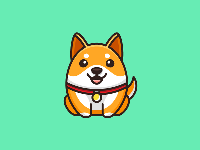 Shiba Inu cartoon comic character mascot logo identity illustrative illustration geometry geometric fat adorable happy expression smile laugh puppy cute friendly animal dog breed shiba inu