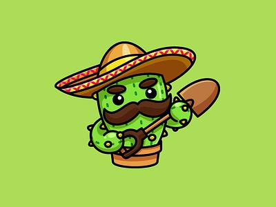 Mr. Cactus illustrative illustration character mascot cactus needle plant vegetable mexico mexican sombrero hat farm farmer shovel dig cute fun funny mustache beard bandit weapon cool cartoon