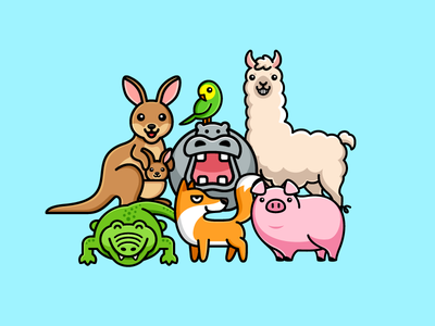 Family Portrait safe protect zoo adorable family together caring pet love care colorful happy world fauna animal day character mascot cute fun funny illustrative illustration logo identity