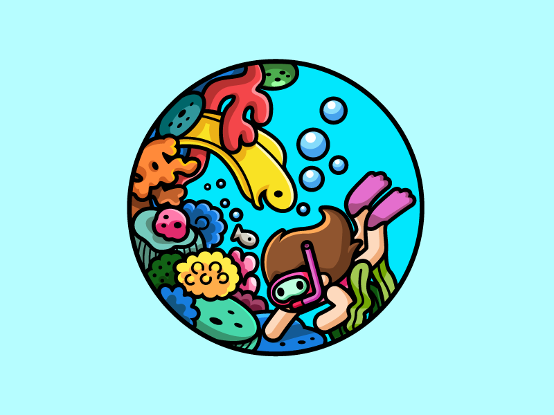 Girl Snorkeling illustration scene eel critters coral reef dive diving girl snorkeling swim swimming sea ocean cute fun funny child children character mascot brand branding logo identity