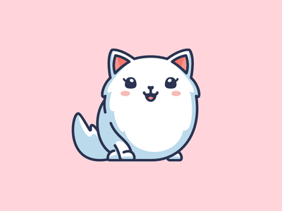 Female Cat app application smile happy pink feminine fur furry beautiful girl adorable pretty cute fun funny character mascot logo identity illustrative illustration kitten animal female cat