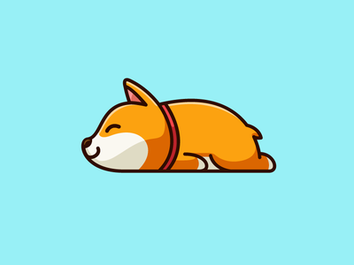 Sunday Mood pet puppy dog animal shiba inu laying down nap napping sleep sleeping lazy sunday cute fun funny child children logo identity illustrative illustration character mascot