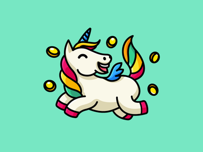 Happy Unicorn website ui ux rich success adorable crazy cryptocurrency bitcoin joyful expression tshirt apparel kids children mascot design cartoon comic color colorful wing jumping fly flying fairy tale horn fantasy coin luck happy laugh cute fun funny illustrative illustration brand branding logo identity