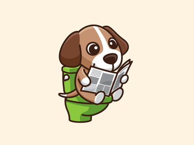 Daily Routine activity life adorable kids child children cartoon cartoony doggy mutt poop crap happy enjoy sit sitting character mascot logo identity illustrative illustration cute fun funny puppy canine dog animal toilet bowl paper newspaper read reading morning schedule daily routine