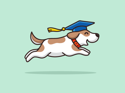 Jump! train training draw drawing fast movement leap leaping dynamic motion joyful laugh happy smile mutt breed collar canine k9 learning run running jump jumping school university graduation hat cartoon comic child children illustrative illustration logo identity dog doggie