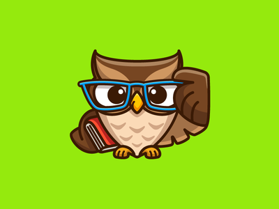 Geek Owl sharp animal smile smiling professor brilliant tutoring teacher mentor tutor student study simple design book sunglasses scientist science owl bird nerd geek smart clever cartoon comic cute fun funny character mascot brand branding illustrative illustration logo identity
