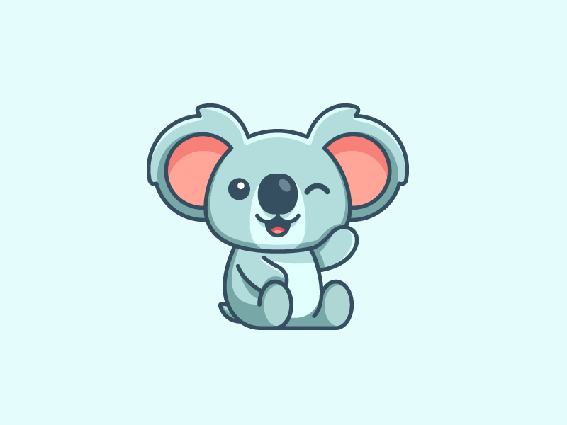 Koala cartoon comic nonprofit organization friendly wink sit sitting stuffed animal cute adorable puppet doll soft feminine kids toddler child children kind kindness happy joyful smile smiling fun funny character mascot illustrative illustration brand branding logo identity koala bear