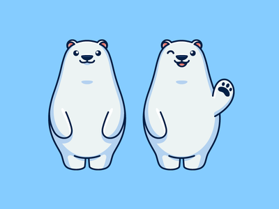 Polar Bear fat chubby cuddle cuddling soft animal logo identity illustrative illustration brand branding character mascot child children polar bear snowing snow friendly adorable kids toddler ice cold wink happy smile smiling simple design hello welcome waving hand