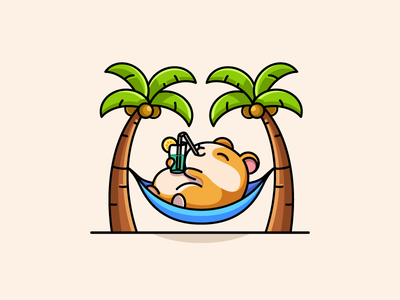 Relaxing Guinea Pig coctail soda nap napping outdoor vacation travel traveling holiday weekend beach summer happy smile drink drinking hammock sleeping pet animal palm trees relax relaxing rodent hamster guinea pig child children cute fun funny character mascot illustrative illustration logo identity