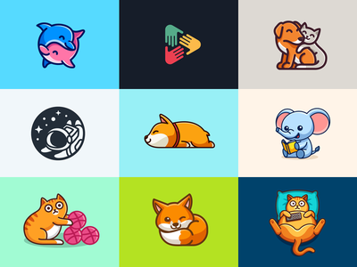 Best 9 Shots of 2018 outline stroke top 9 simple adorable animal dog cute fun funny child children logo identity brand branding character mascot best 9 dribbble 2018 shots