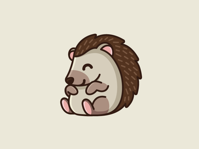 Hedgehog bold outlines little small happy smile fat chubby pet sitting needle sharp spines hairs adorable baby hedgehog animal sticker cartoon child children character mascot illustrative illustration cute fun funny logo identity