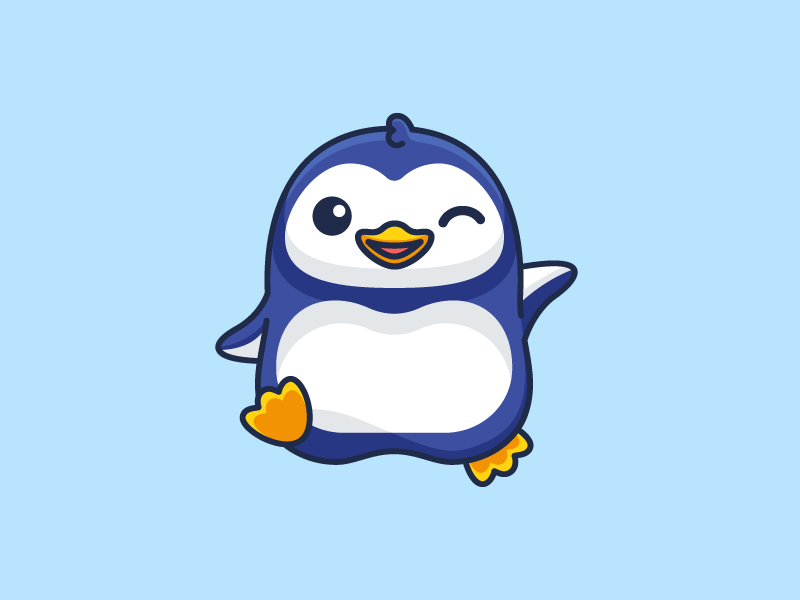 Penguin avatar icons bird animal cold weather ice frozen antarctic antarctica hello greeting user profile adorable lovely smile smiling wink winking waving walking happy friendly fat chubby character mascot cute fun funny illustrative illustration brand branding logo identity