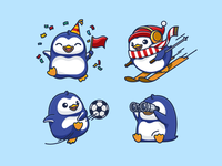 Additional Poses scarf hat ball flag ice frozen winter cold binoculars see skiing soccer party joyful celebratory celebration pose position happy friendly fat chubby illustrative illustration cute fun funny character mascot brand branding bird animal avatar icons antarctic antarctica adorable lovely