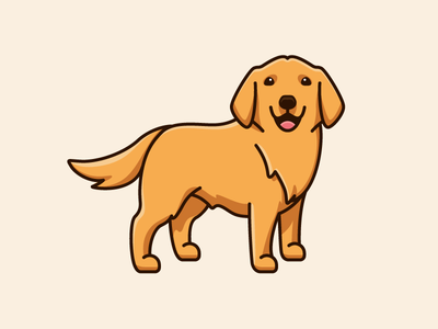 Golden Retriever logo identity friendly expression brand branding cute fun funny lovely apparel sticker tshirt stand standing smile smiling happy design draw drawing pet animal dog breed character mascot cartoon comic adult realist illustrative illustration golden retriever