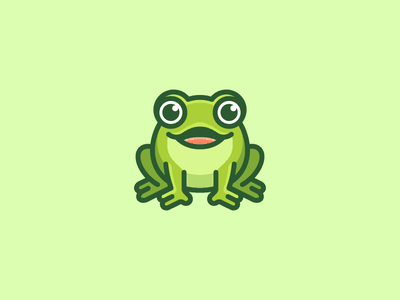 Frog draw drawing green amphibia frog animal personality personal clean simple friendly happy smile smiling bold outline cartoon flat mascot character symbol icon geometry geometric character mascot cute fun funny illustrative illustration brand branding logo identity