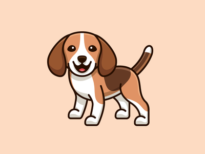 Beagle realist realism cartoon comic illustrative illustration brand branding character mascot cute fun funny dog breed draw drawing friendly expression beagle adorable happy design cloth apparel pet animal smile smiling stand standing sticker tshirt