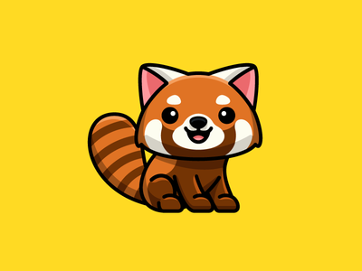 Red Panda tshirt apparel sticker design positive vibes happy smile bold outlines draw drawing bear wildlife east asia sit sitting animal zoo red panda adorable lovely cartoon comic symbol icon child children geometry geometric character mascot cute fun funny illustrative illustration logo identity