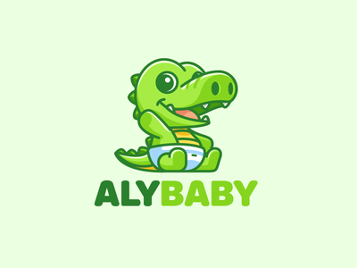 Baby Alligator cartoon comic kids toddler happy laughing vibrant color soft playful sit sitting ecommerce sale diaper nappy bright green smile waving fun friendly character mascot cute adorable child children baby clothing zoo wildlife wild animal alligator crocodile logo identity brand branding