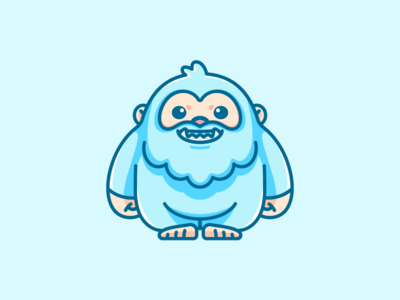 Yeti happy smile light blue adorable lovely game gaming mythical creature snowman ape ice snow yeti big foot symmetry standing geometry geometric flat cartoon comic symbol icon app apps application child children character mascot cute fun funny brand branding logo identity