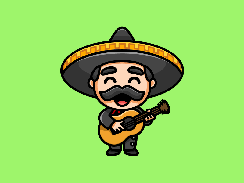 Mariachi Playing a Guitar playful simple cartoon comic mustache hair bold outline mexican people sombrero hat sing singing musician band stand standing joyful instrument musical group mariachi mexico guitar music play playing smile smiling happy laugh cute fun funny illustrative illustration