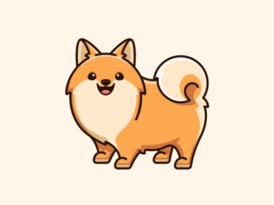 Pomeranian dwarf spitz zwergspitz loulou t-shirt clothing sticker apparel draw drawing cartoon comic simple furry lovely adorable smile smiling friendly expression pet happy stand standing dog animal pomeranian breed illustrative illustration cute fun funny character mascot logo identity