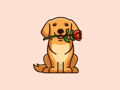 Golden Retriever & Rose sticker design t-shirt apparel smile smiling draw drawing dog breed pet animal lovely adorable grace admiration romance wedding love joy pink red rose flower friendly expression golden retriever cartoon comic character mascot cute fun funny illustrative illustration brand branding logo identity