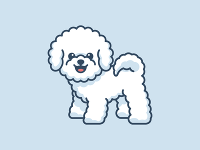 Bichon Frise small playful cartoon comic geometry rounded simple minimalist stand standing tshirt apparel character mascot child children happy friendly puppy animal soft fluffy fur furry adorable lovely sticker design dog breed bichon frise cute fun funny illustrative illustration