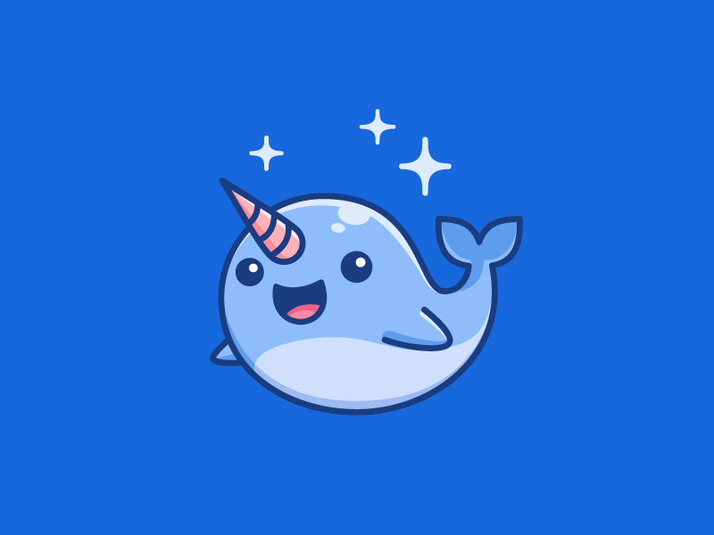 Blue Narwhal cryptocurrency ethereum smile happy circle circular user avatar fish sea ocean whale animal tusk horn adorable lovely blue narwhal ui ux mobile cartoon comic app apps application symbol icon geometry geometric character mascot cute fun funny illustrative illustration brand branding logo identity