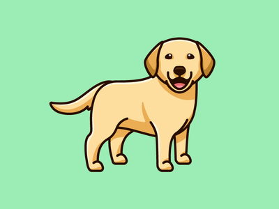 Yellow Labrador stand standing positive vibes happiness cheerful laugh laughing smile smiling adorable lovely tshirt apparel sticker design pet animal happy friendly dog breed cartoon comic character mascot cute fun funny illustrative illustration labrador retriever yellow lab