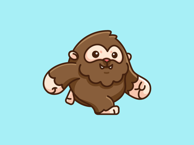Bigfoot t-shirt apparel sticker design child children friendly human monster giant north america snowman figure walk walking mythical beast happy smile game gaming furry ape yeti creature bigfoot sasquatch cartoon comic cute fun funny illustrative illustration character mascot brand branding adorable lovely