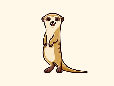 Meerkat lovely adorable tshirt apparel happy smile flat cartoon comic friendly animal safari symbol zoo nature stand standing meerkat africa sticker design cute fun funny character mascot brand branding