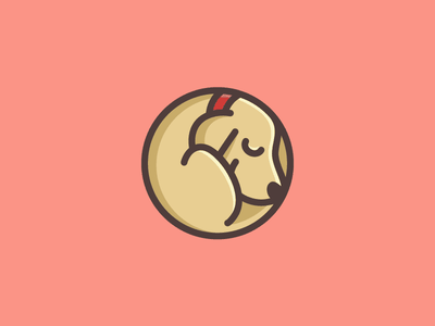 Dog Sleeping peaceful calm adorable lovely rounded friendly sleepy rest relax enjoy curled up position nap napping laying down sleep sleeping animal pet dog puppy geometry geometric circle circular symbol icon child children character mascot brand branding cute fun funny illustrative illustration logo identity