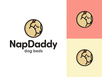 Dog Sleeping peaceful calm sleepy rest beds pillow rounded friendly relax enjoy sleep sleeping nap napping laying down illustrative illustration dog puppy geometry geometric logo identity cute fun funny curled up position circle circular child children character mascot brand branding animal pet adorable lovely