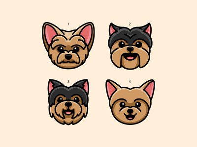 Yorkshire Terrier smile smiling brown black canine puppy lovely adorable eyebrow mustache happy expression head face choose choice which one sticker design pet business fur furry dog animal yorkie breed yorkshire terrier child children cute fun funny illustrative illustration