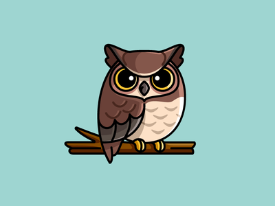 Great Horned Owl wise school bold outline sticker design night strong predator horn nature wildlife hunter hunting eye beak camouflage brown north america hoot falcon bird animal eurasian eagle tiger owl great horned child children cartoon comic character mascot cute fun funny illustrative illustration