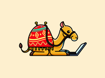Camel Working on Laptop computer game playful style humor humour online internet exploration guidance world wide advertising agency education tour travel journey happy smile sitting laptop camel working adventure nomad digital marketing cartoon comic character mascot cute fun funny illustrative illustration brand branding logo identity
