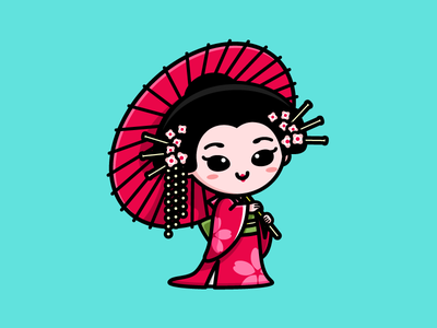 Geisha soft feminine cartoon comic character mascot female beauty glamour tradition colorful pink history maiko elegance charming sticker design kimono art east asia traditional clothing japan kyoto japanese culture geisha umbrella pretty beautiful woman women lovely girl cute adorable illustrative illustration