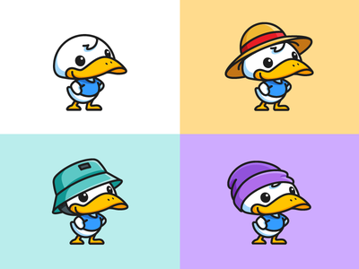 Duck and Hats stand standing smile confidence pose model fashion trend animal bird lovely adorable young kids colorful pastel surf skating straw hat short bill duck beak child children cartoon comic character mascot cute fun funny illustrative illustration