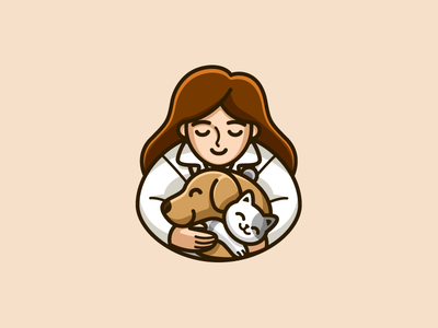 Veterinarian outline stroke affection squeeze clinic practice puppy kitten friendly friend compassiona people love caring hug hugging medical care veterinarian doctor veterinary vet dog cat animal pet cartoon comic character mascot cute fun funny illustrative illustration brand branding logo identity