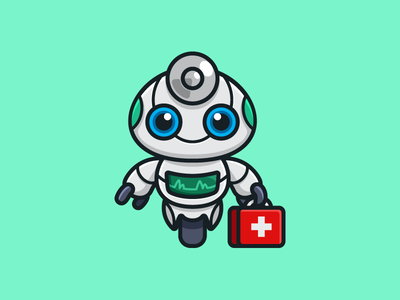Medical Robot healthy life health care electrocardiogram ecg friendly smile technology techno assistant help bot cyborg robot android smart clever artificial intelligence nurse hospital physician doctor medical kit child children cartoon comic geometry geometric character mascot cute fun funny illustrative illustration logo identity