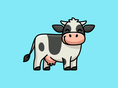 Dairy Cow agriculture land children kids tshirt art sticker design nature horn fresh product stockbreeding field friendly standing healthy beef milk drink lovely adorable happy animal farming ranch farm cattle dairy cow logo identity cartoon comic character mascot cute fun funny illustrative illustration