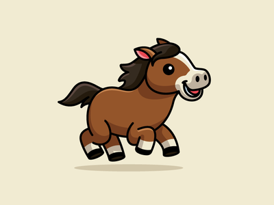 Running Horse stallion nature welsh pony dynamic motion racehorse pet smile smiling happy jumping sport race brown color sticker design speed endurance strength powerful strong power horse animal run running child children cartoon comic cute fun funny illustrative illustration logo identity