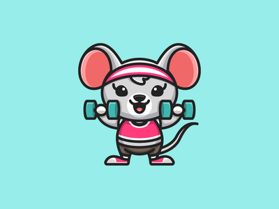 Rat Lifting Dumbbells body care workout diet health healthy pink turquoise girl girly training exercise weightlifting sport barbell dumbbell rodent mammal rat mouse fitness gym female feminine woman women child children cartoon comic character mascot cute fun funny illustrative illustration logo identity