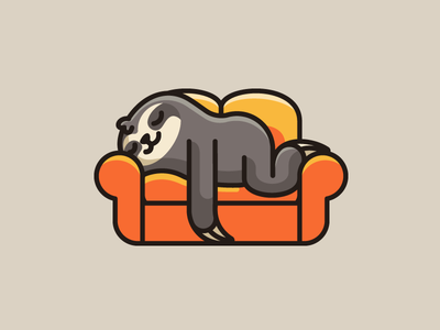 Lazy Sloth bold outline rest resting furniture interior lazy weekend sloth animal mood expression enjoy happy laying down relax relaxing sleep sleeping couch sofa cartoon comic geometry geometric illustrative illustration logo identity brand branding cute fun funny comfort comfortable child children character mascot