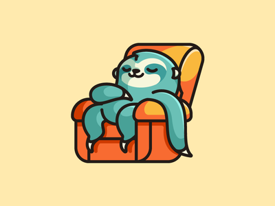 Lazy Sloth - Option 3 lazy weekend sloth sloth animal rest resting sleep sleeping laying down furniture interior enjoy happy relax relaxing sofa couch comfort comfortable bold outline logo identity child children cute fun funny illustrative illustration geometry geometric character mascot cartoon comic brand branding